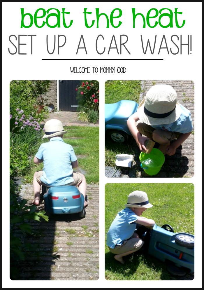 Beat the heat: set up a car wash activity by Welcome to Mommyhood #summeractivitiesforkids, #preschoolactivities, #kidsactivities