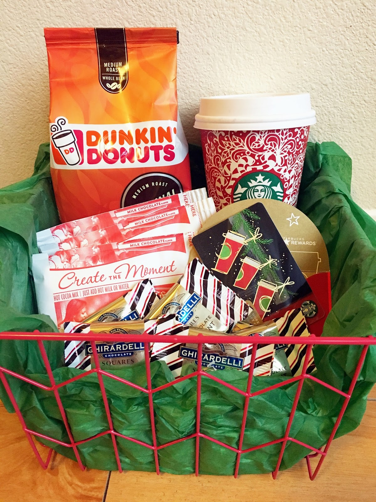 what i just realized about this gift basket is that two competing products dunkin donuts coffee