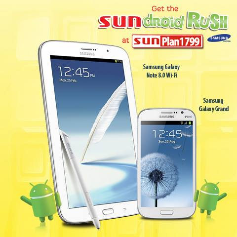 Sundroid Rush: Samsung Galaxy Note 8.0 on Sun Cellular Plan 1799 paired with Galaxy Grand