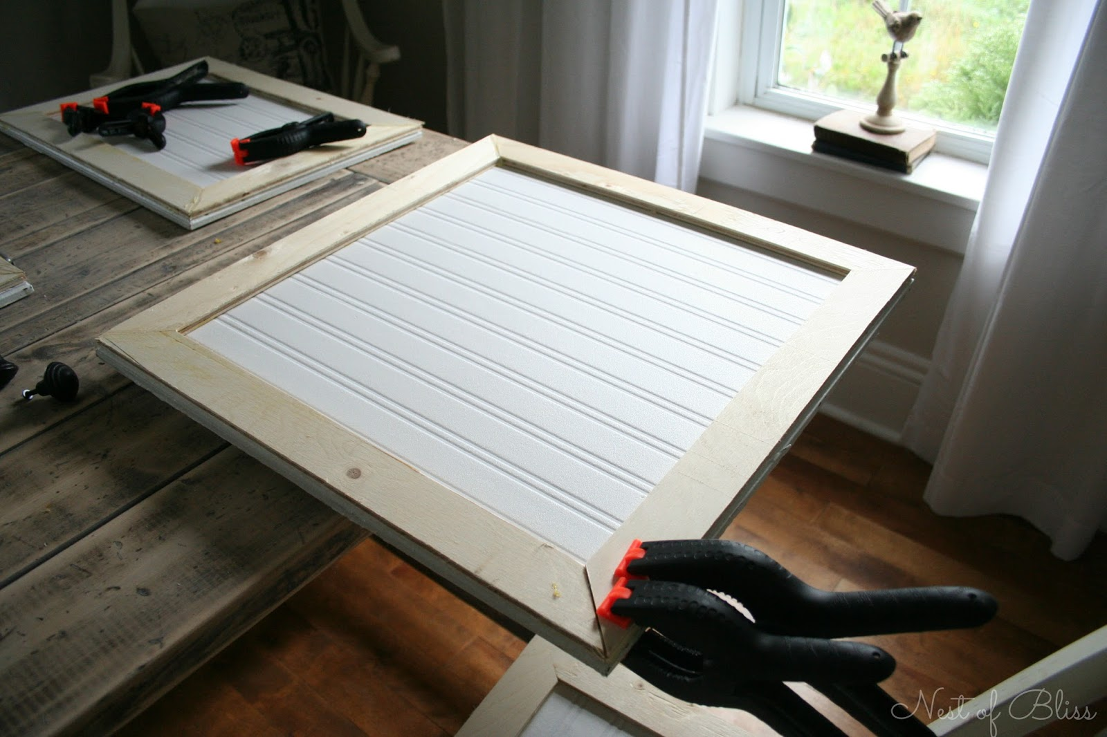 Used Kitchen Cabinet Doors Small Rolling Island Diy Beadboard Wallpaper Cabinets Nest Of Bliss
