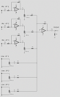 OP-AMP 6-LINE AUDIO MIXER CIRCUIT SCHEMATIC DIAGRAM