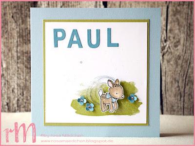 Stampin' Up! rosa Mädchen Kulmbach: Babykarte Paul mit Bambi zum Nachwuchs, Itty Bitty Stanze, Framelits Beeindruckende Buchstaben und Perpetual Birthday Calendar