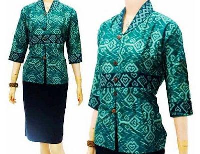 Gambar baju kerja kantor motif batik rok pendek