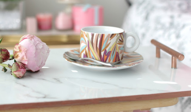 marble copper tray diy coffe cup missoni peony