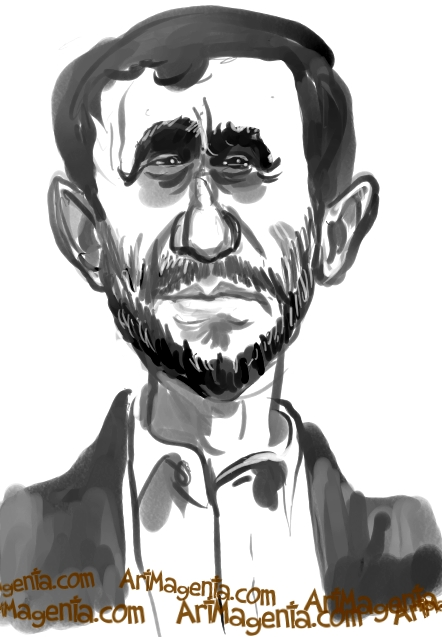 Mahmoud Ahmadinejad  caricature cartoon. Portrait drawing by Artmagenta.