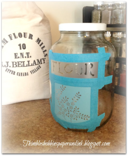 Glass Etched Flour Canister