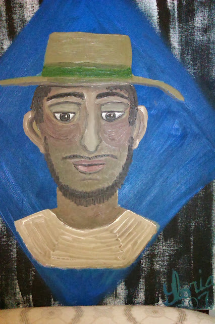 Puerto Rican man for ethnic series of oil paintings, painted by Gloria Poole,