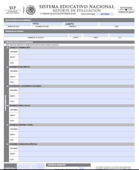 Formato Reporte de Evaluación Preescolar EN WORD Y PDF EDITABLES