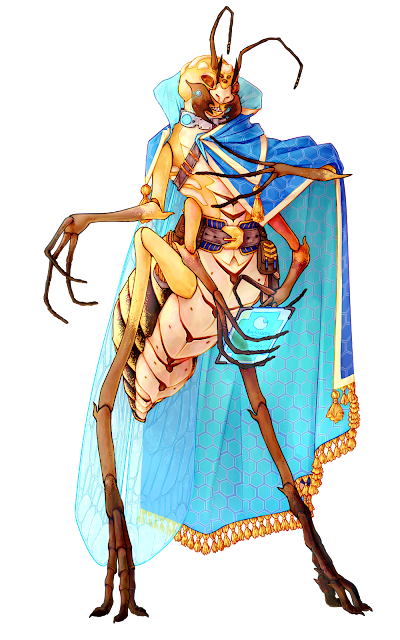 A bug person in a pretty blue and gold robe, using a digital tablet, and somewhat resembling a grasshopper.