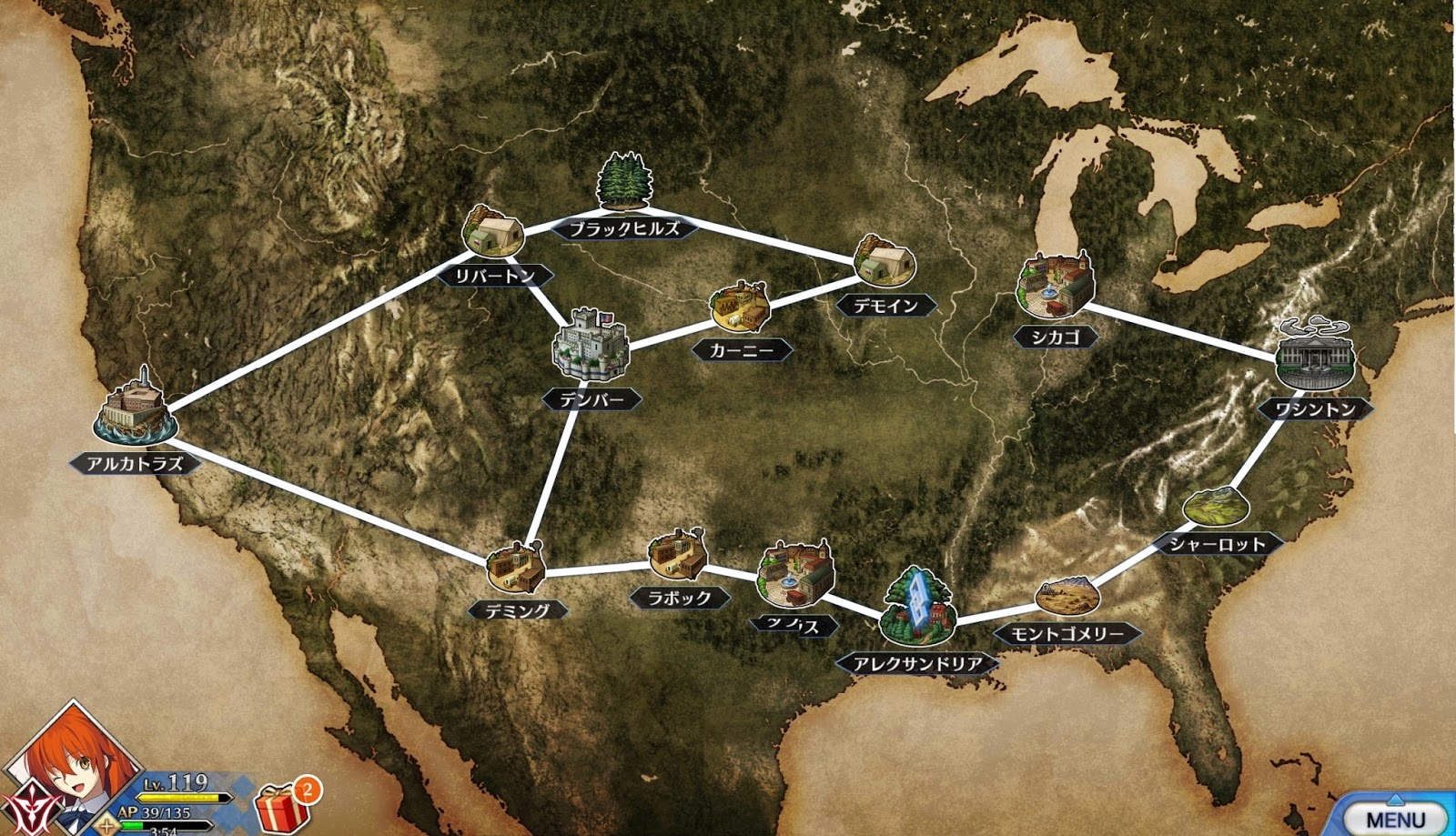 a map of the us from the america chapter of the game each location has numerous battles and can be revisited to grind ingredients for powering up servants