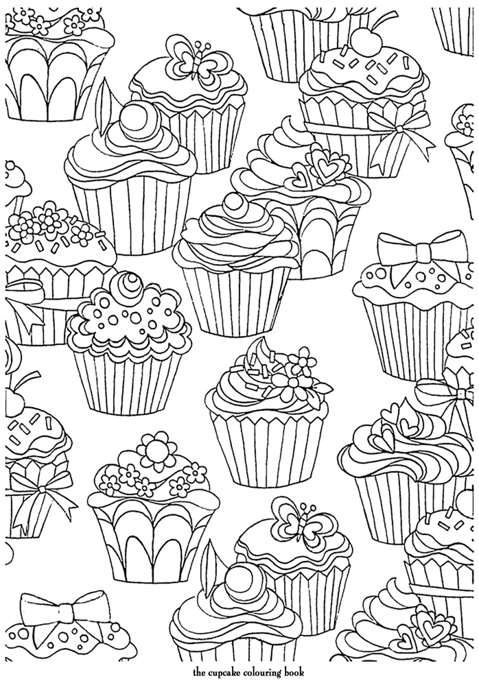 Coloring Page World: Cupcake Pattern
