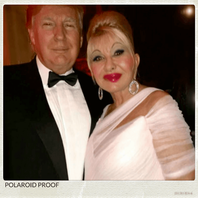 A polaroid photo of First cousin Donald Trump and his first Greeks wife Iwanna Trump today.