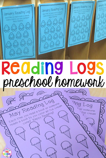 Kindergarten Reading Calendar : Reading logs parent letter homework for preschoolers