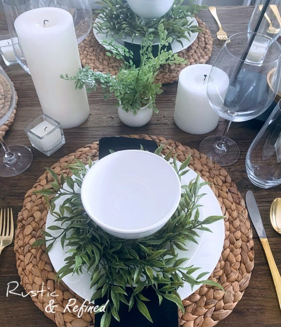 Black and white tablescape for spring with rustic farmhouse touches that can fit any season Spring, Summer or Fall.