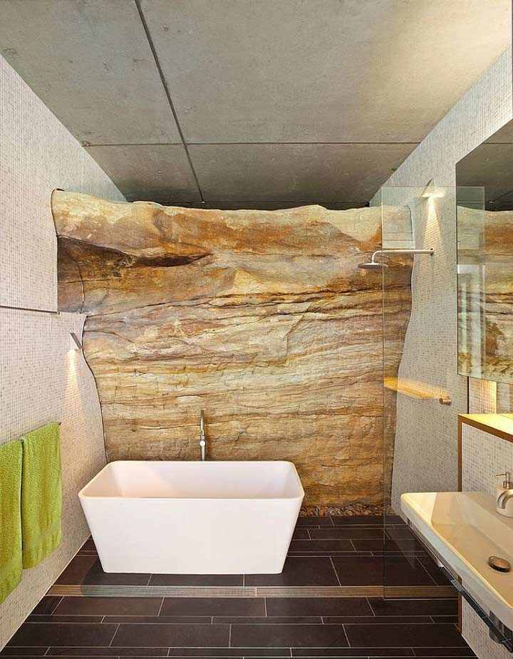 Modern bathroom with stone to create a natural look
