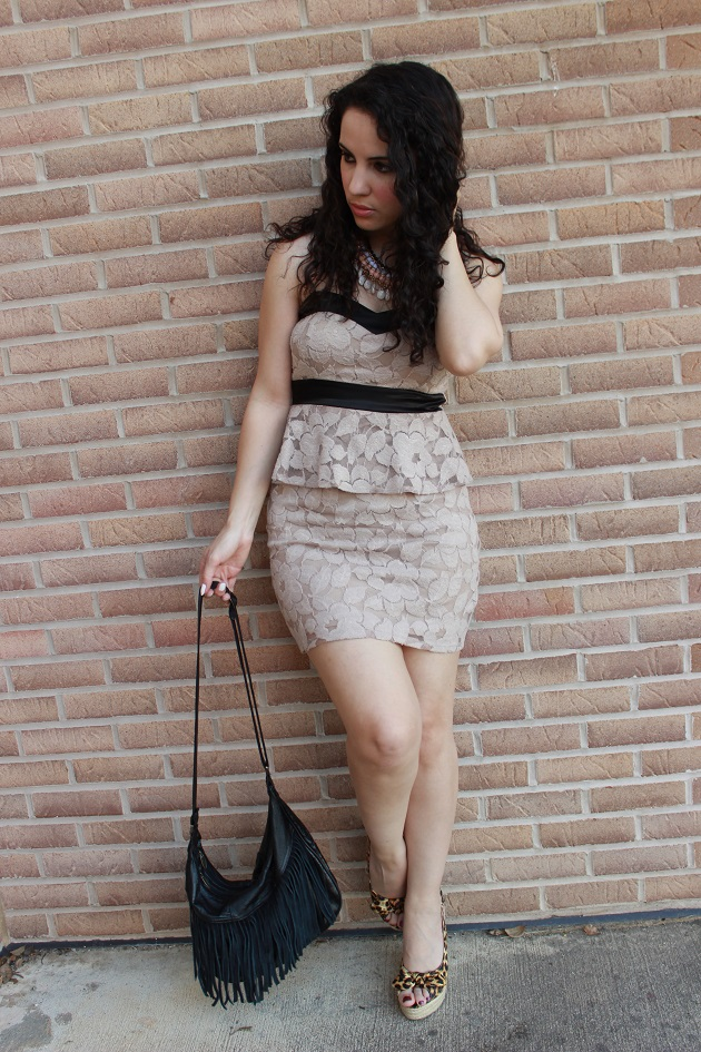 Beige Peplum Dress