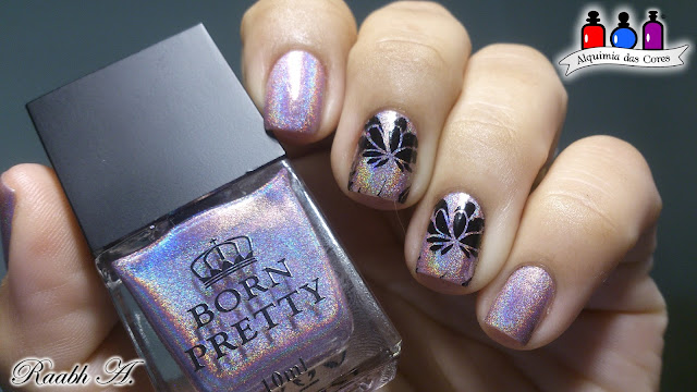 Born Pretty Holo Polish, Rosa, Pink, HK009, Together Forever, Linear Holo, BP-L 008, carimbada, Nails, nail art, Raabh A.,