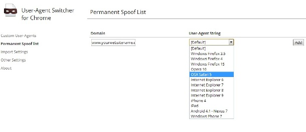 Adding permanent Agent for specific sites on Switch UA application on Google chrome