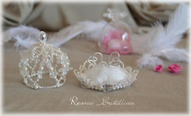 écrin d'alliances en perles et cristaux Princesse