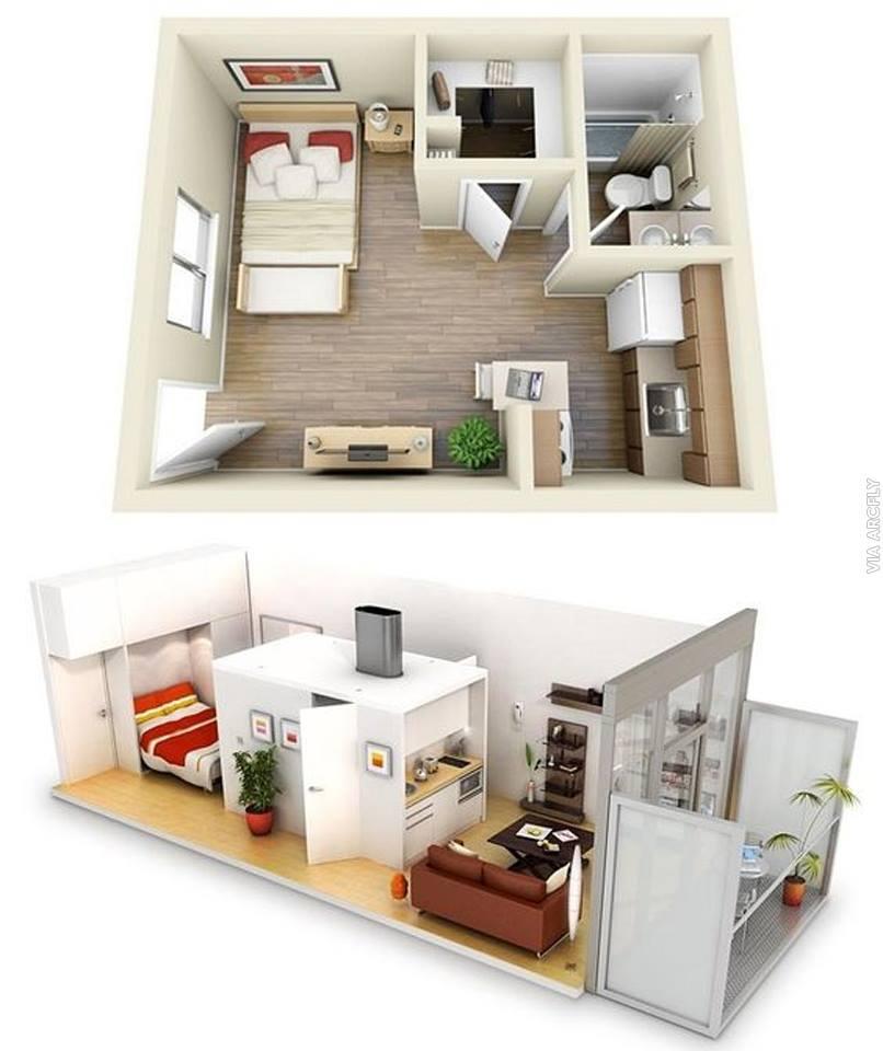 One Bedroom Appartment: 50 Denah Rumah Minimalis 3D (3 Kamar Tidur, 2 Lantai, Dan