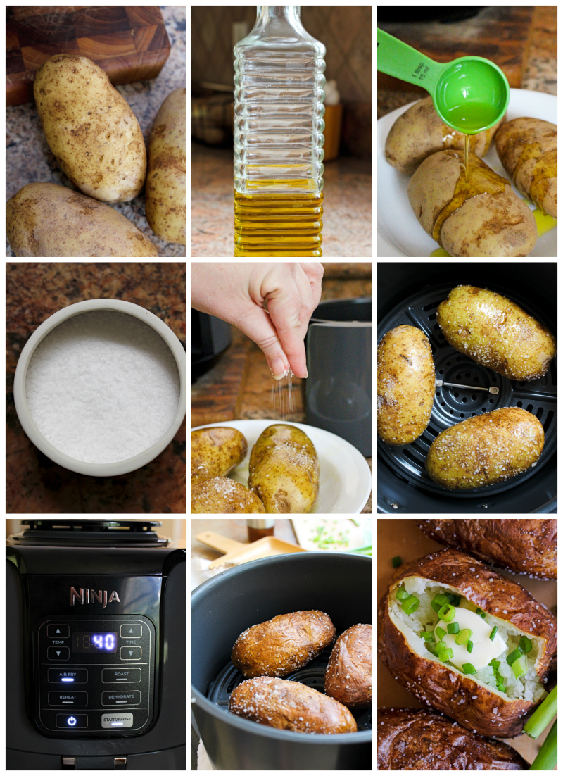 These baked potatoes cooked in the air fryer have a perfectly cooked fluffy inside and an irresistible crispy salty skin. You can eat them as a side dish or enjoy them as a light main dish! #airfryer #bakedpotato #sidedish