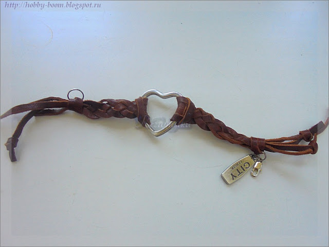 кожаный браслет со вставкой