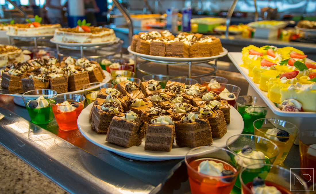 Buffet dessert selection on Independence of the Seas