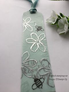 Book mark in Pool Party, made using heat embossing on vellum.