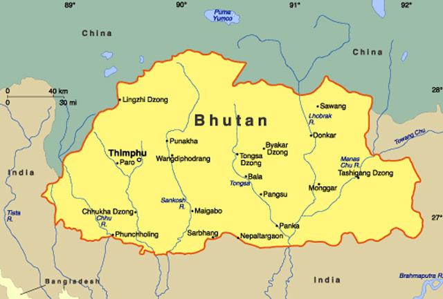 Gambar Peta Negara Bhutan