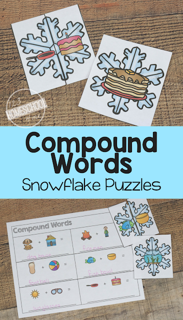 FREE Compound Words Snowflake Puzzles - this is such a fun compound words activities for preschool, kindergarten, first grade, 2nd grade and 3rd grade. It not only includes fun hands on activities perfect for centers, but worksheets to make teaching easy!