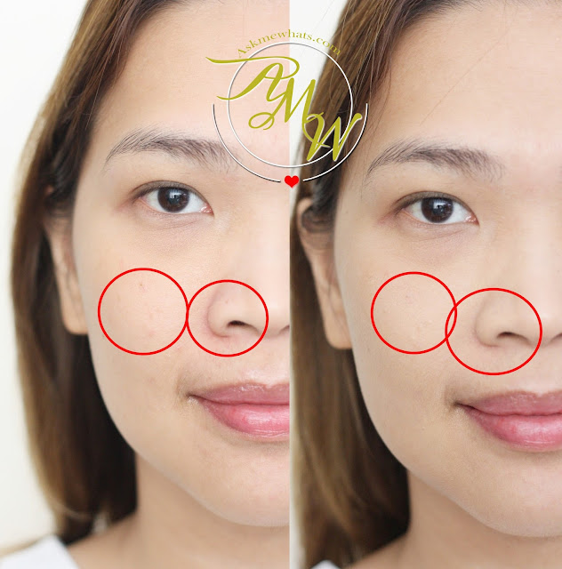 Before and after photo of Benefit POREfessional Pore Minimizing Makeup shade 2.