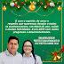 Mensagem de boas festas do prefeito de Ponto Novo Tiago Venâncio e da vice-prefeita Simone Silva