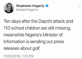 BBC journalist criticises Lai Mohammed for attending golf event while Dapchi school girls are still missing