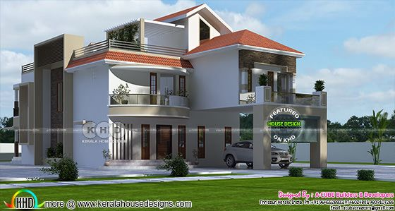 3999 square feet modern mixed roof house architecture