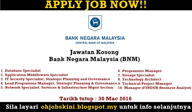 Jawatan Kosong Bank Negara Malaysia (BNM)