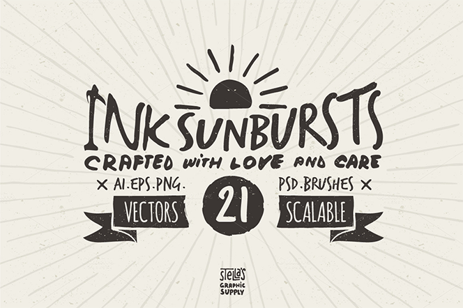 Hand Drawn Sunbursts - Stella's Graphic Supply