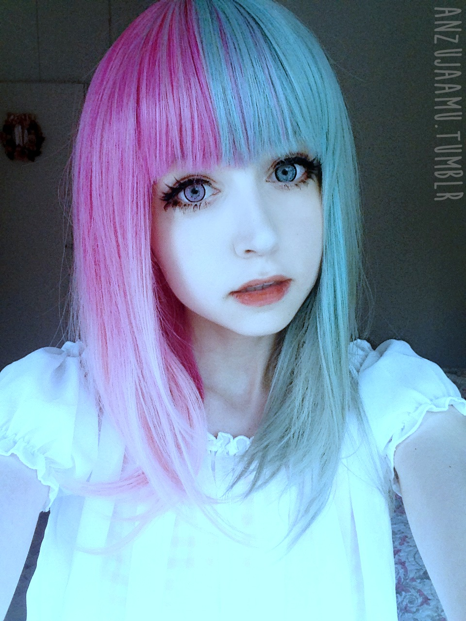 Wig Is Fashion Dark Blue Wig Amp Pink Green Split Wig Review