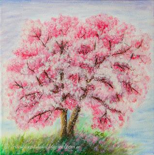 Kirsipuu künkal õitsemas