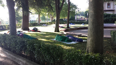 People sleeping in the park