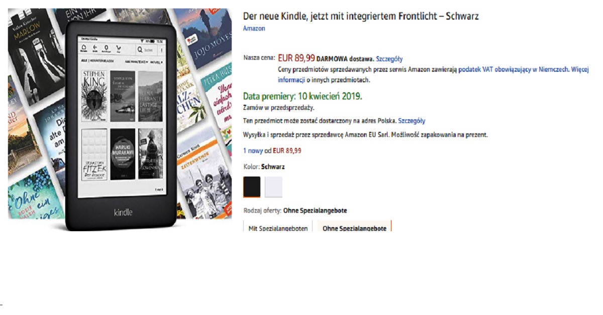Kindle 10 w Amazon.de