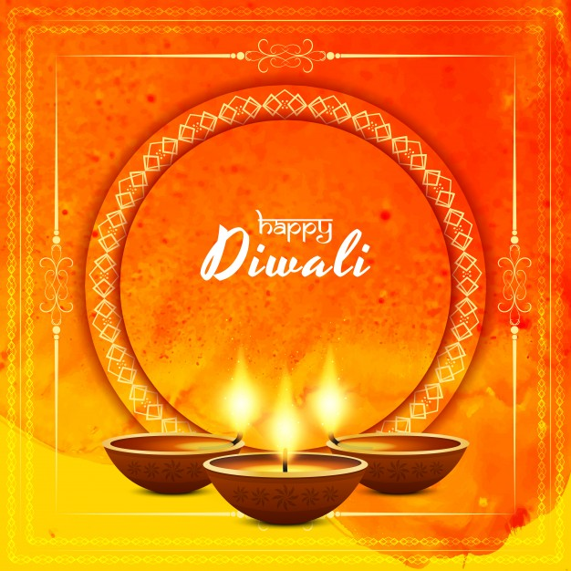 Creative orange diwali design Free Vector