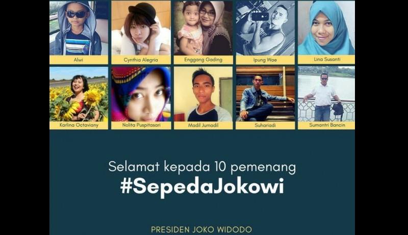 Pemenang kuis sepeda Jokowi di Facebook