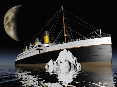 Titanic approaching low hidden iceberg with moon large in night sky