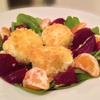 Warm Beet and Chèvre Salad before Maple Vinaigrette