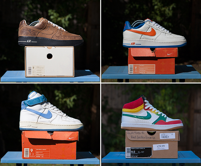 2c3e01ad61403 2001 Nike Air Force 1 High B 'Columbia Blue', 324038 141, 8.5/10 condition,  mens 9 2008 Nike Court Force Hi WMNS 'Rasta', 315114 138, DS condition,  wmns 9.5