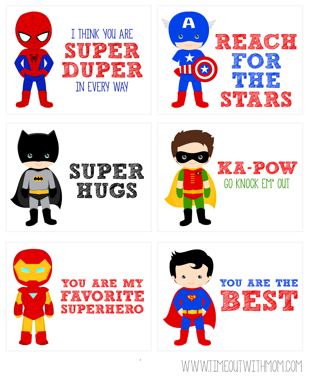 photograph about Printable Lunchbox Notes named Printable Superhero Lunch Box Notes