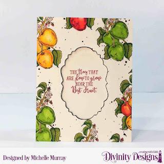 Divinity Designs Stamp Set: Apple Branch, Custom Dies: Vintage Label