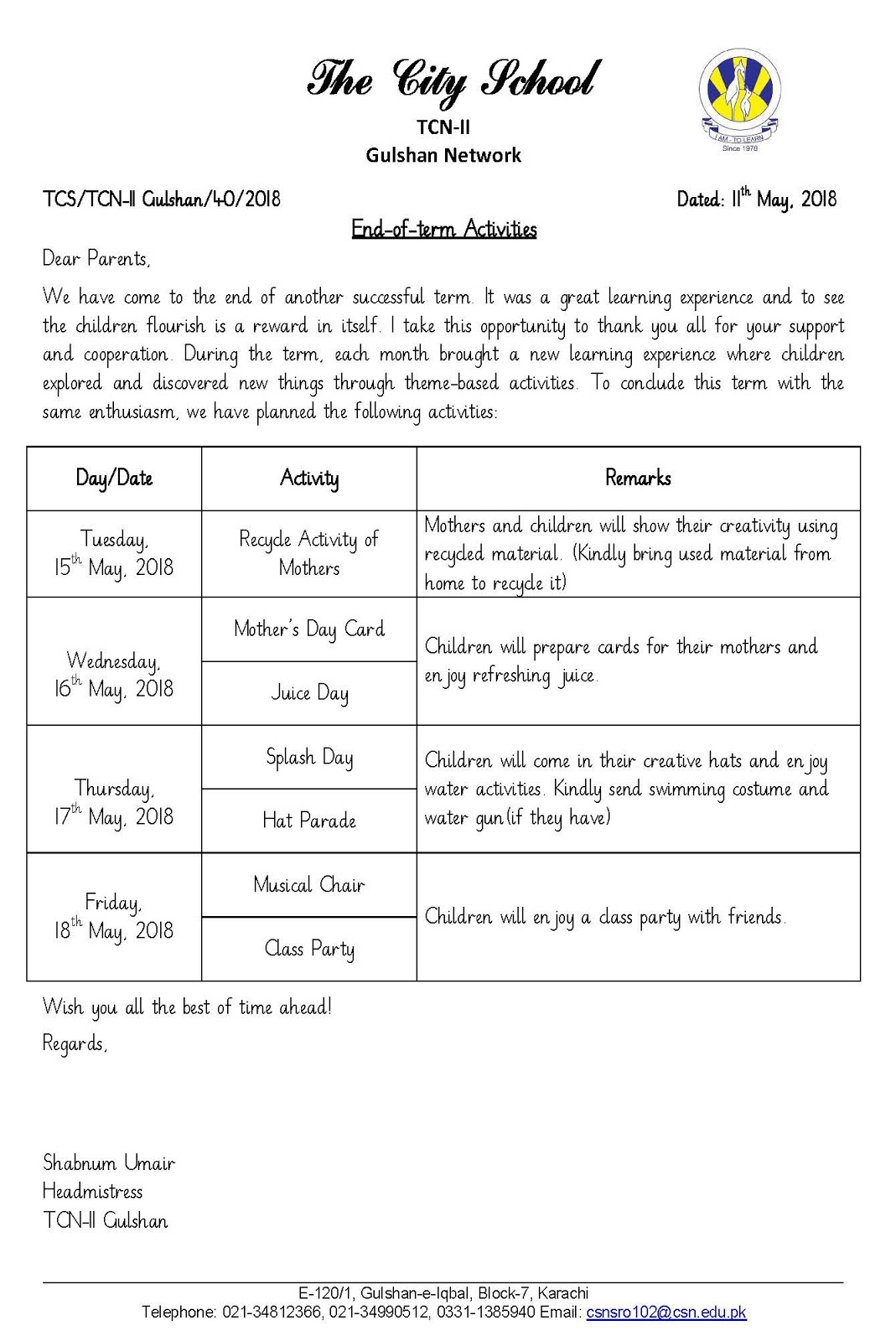 Sr Gulshan The City Nursery Ii Circulars For End Of Term Activities And Recycle Activity Of Mothers