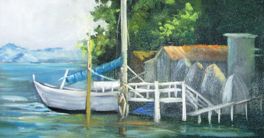 Boat and Dock, oils,Seascape,Barbara Haviland-Texas contemporary Artist