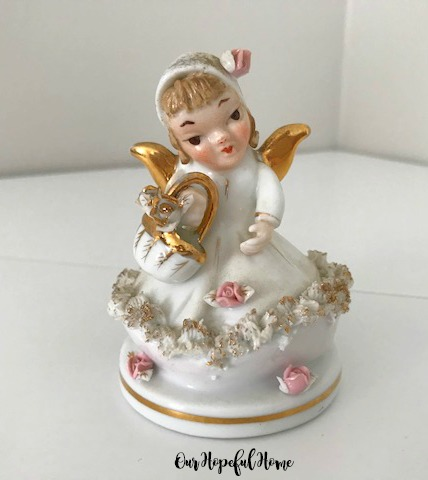 Lefton Going to Market porcelain angel figurine 808B